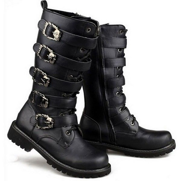Amazon.com   Martin Motorcycle Boots Men Black Retro Combat Boots Belt... ($17) ❤ liked on Polyvore featuring men's fashion, men's shoes, men's boots, mens combat boots, mens leather boots, mens leather shoes, mens shoes and mens biker boots