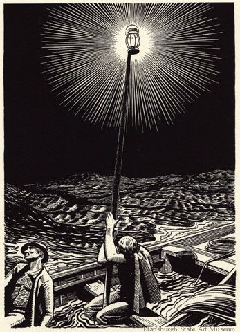 Rockwell Kent - illustration from Moby Dick, or The White Whale (1958), woodcut