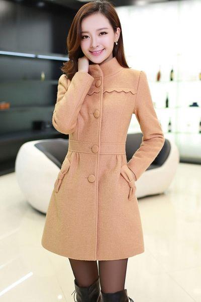 Graceful Bwknot Deco Woolen Coat
