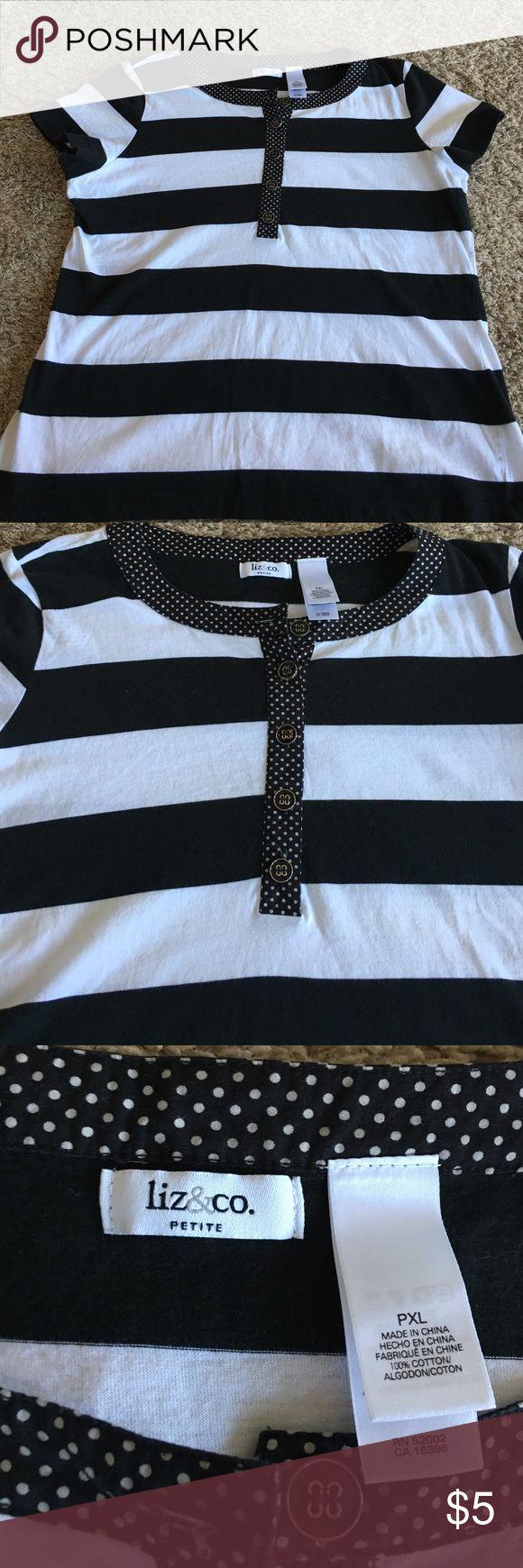 Women's Tee Black and white striped tee. Polka dot trim on collar. Button half way up liz&co. Tops