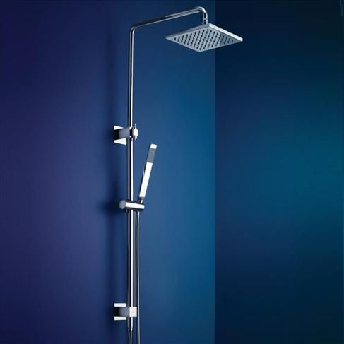 Dorf Minko Bathroom Wels Wall Rail Shower With Overhead Square Chrome - European quality and finish with Oriental-influenced design. Minko's sleek lines will transform the feel of any bathroom