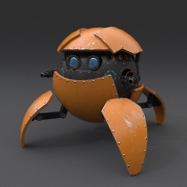 3d rigged sphere robot