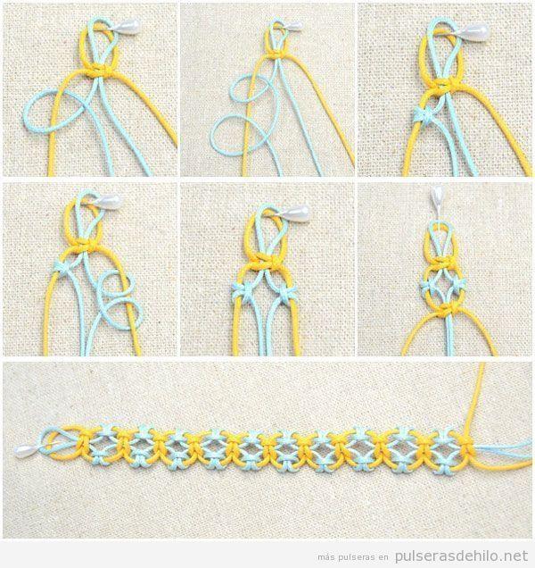 Resultado de imagen para pulseras hechas a mano con cola de raton paso a paso