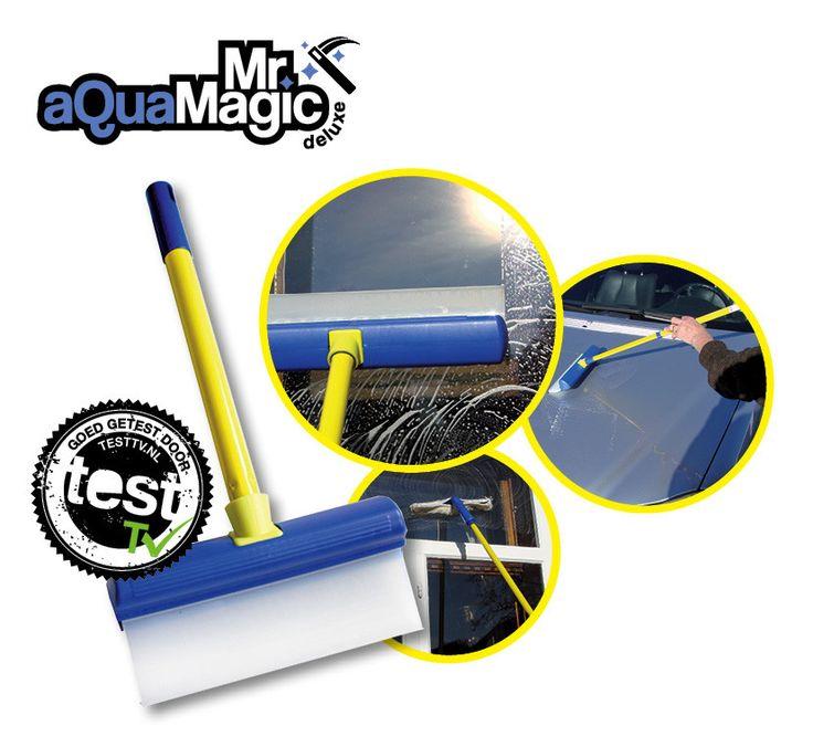 Mr. Aqua Magic Deluxe  Description: Mr Aqua Magic Ramen wassen en zemen is nog nooit zo makkelijk geweest met de Mr Aqua Magic. Met een traditionele trekker en zeem loopt het vieze water langs uw armen over de kozijnen en vervolgens op de vloer. Uw ramen zijn dan misschien wel schoon maar u kunt ook gelijk uw vloer schoonmaken. Met dit handige systeem van Mr. Aqua Magic zult u niet meer knoeien. Of u nu juist hoge of lage ramen heeft dit maakt niet meer uit met de handige telescoopsteel van…