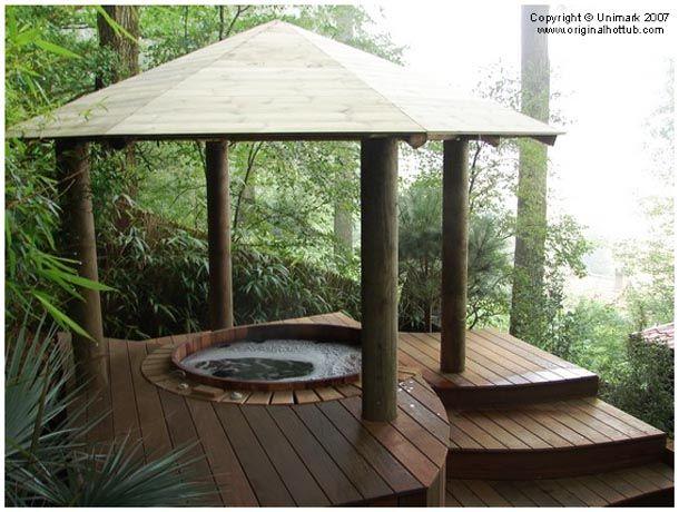176 best wood gazebos images on pinterest garden arbor for Wooden gazebo for hot tub