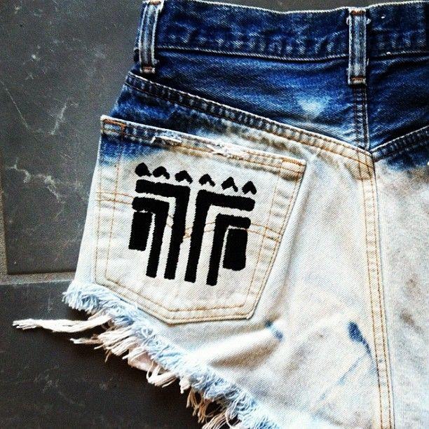 Dip Bleached Aztec Shorts