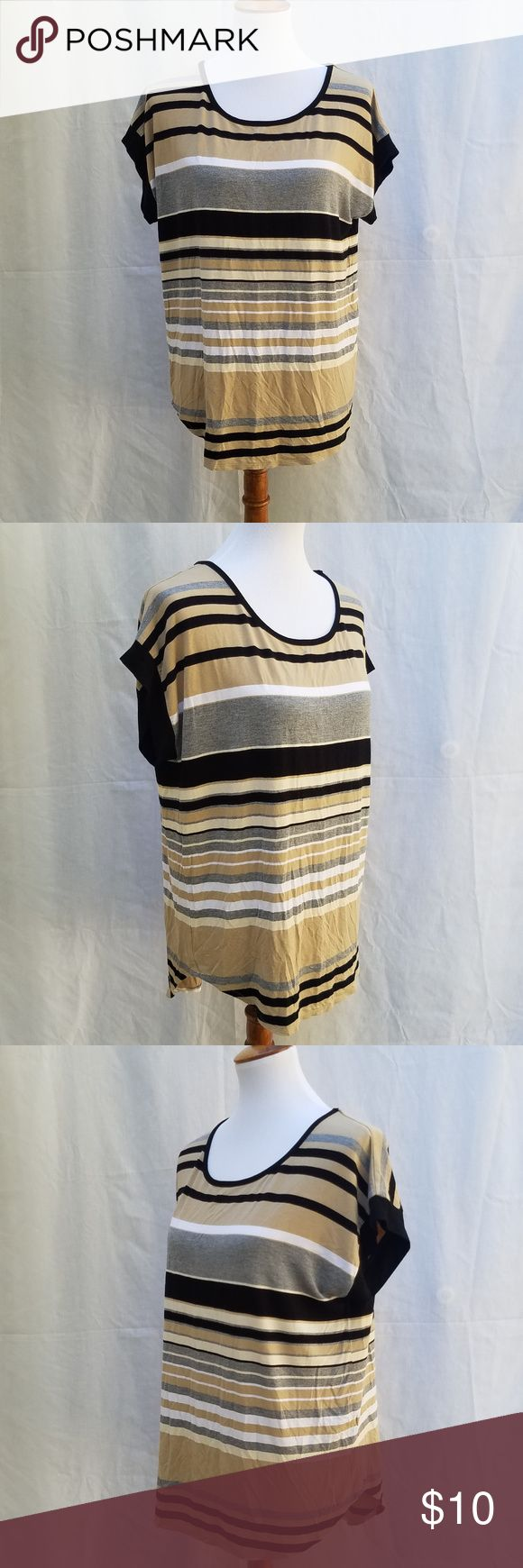 Cable & Gauge striped short sleeve top Cable & Gauge striped short sleeve top, tan, white, grey and black striped lightweight top with button detail down the back.  Like new condition, Size Large. Cable & Gauge Tops Tunics