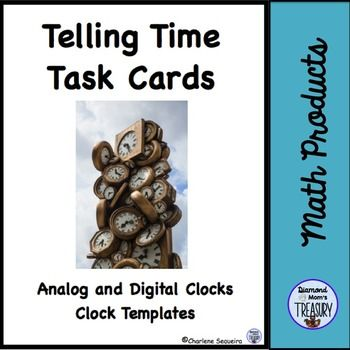 Telling Time Task Cards - Clock TemplatesThis is part of a larger bundle that includes on the hour, half hour, quarter hour, three quarter hour, and five minute intervals as well as clock templates.Telling Time Task Cards BundleTelling Time Task Cards - Hour and Half HourTelling Time Task Cards - Quarter Hour and Three Quarter HourTelling Time Task Cards - Five Minute IntervalsMany technology devices use digital time now and children find analog clocks more difficult to read so they often…
