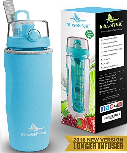 Infuser Water Bottle with Full Length Infusion Rod and Insulating Sleeve  25 Fruit Infused Water Recipes eBook Gift - Large 32 Oz Sport Bottle - Your Healthy Hydration Made Easy - Azure Blue