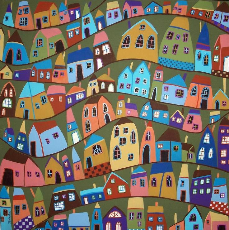 Neighboring Houses FOLK ART ABSTRACT COLORFUL ORIGINAL 20x20 PAINTING Karla G