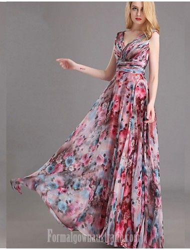 Australia Formal Evening Dress Print Plus Sizes Dresses Petite A-line V-neck Long Floor-length Chiffon Formal Dress Australia