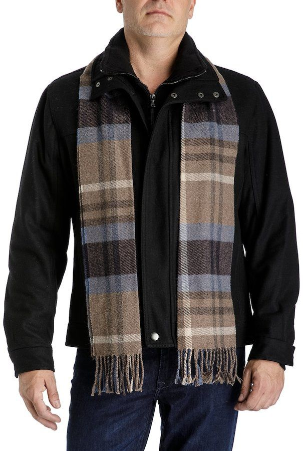 Towne Men's Towne Wool-Blend Hipster Jacket With Plaid Scarf