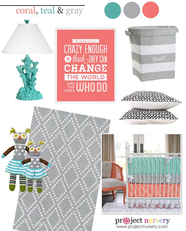 Trending nursery color scheme: Coral, Teal and Gray! #nursery #designboard: Nursery Design, Color Schemes, Design Boards, Colors Schemes, Baby Girls, Nurseries Design, Coral Teal, Nurseries Ideas, Gray Nurseries