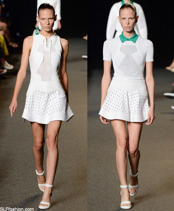 Sportive Style White Tennis Dress With Green Color Neckline Or Collar Best Looks Alexander Spring Summer 2017 New York Fashion