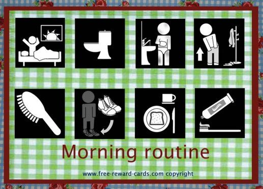 Daily rythm card Morning ritual. This schedule visualises with pictograms the morning routine of kids. Daily rythm charts can be useful for children with attention deficit hyperactivity disorder (ADHD) or autism disorders.