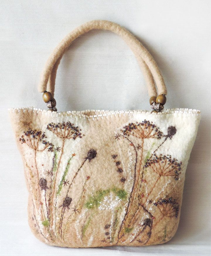 Felt is a miraculous fabric that is hard-wearing, water-repellent, mud-resistant, 100% natural, renewable and environmentally friendly, and doesn't fray. See how Marusya Kacharizkina transforms this miracle fabric into fashionable handbags inside Belle Armoire.