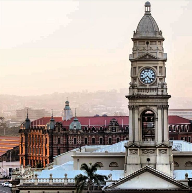 Durban central Post Office - Main Railway Station in background
