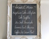 OLD WORLD CHALKBOARD French Country Ivory Distressed Decor Kitchen Wedding Menu Sign Vintage Style Magnetic Board Chalk Board Wall Decor. $219.00, via Etsy.