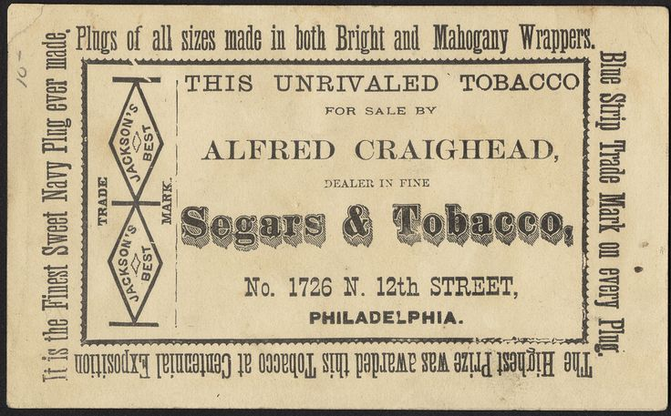 Jackson's Best Chewing Tobacco [back], 1870-1900 - Advertising cards (19th Century American Trade Cards, Boston Public Library)