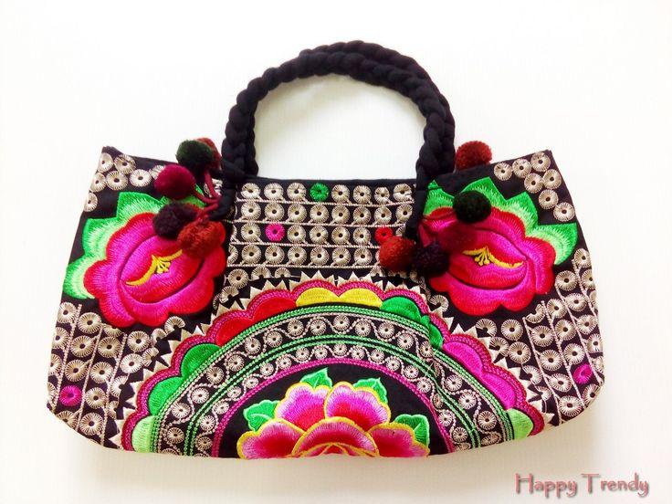 Multi color flower woman handbag by HappyTrendy on Etsy