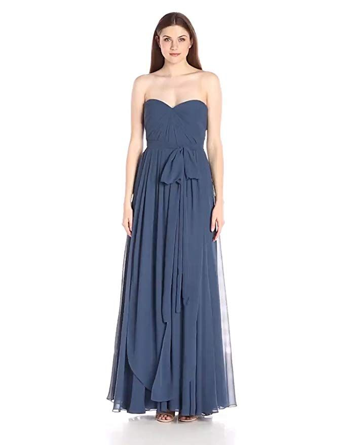 39ffe67c748c Jenny Yoo Women's Mira Convertible Strapless Pleat Chiffon Gown, Evening  Blue, 2