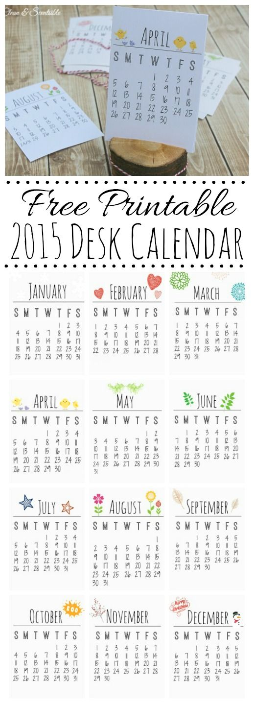 Free Printable Desk Calendar for 2015. Makes a great gift idea! // cleanandscentsible.com