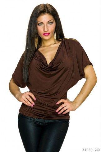 Κοντομάνικη ντραπέ μπλούζα - Σκούρο Καφέ