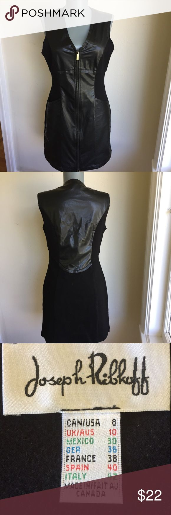 """Joseph Ribkoff Black Dress.  Ultra Chic. Joseph Ribkoff Black Dress.  Inserts of faux leather next to blend fabric to give this dress an ultra chic look.  Very flattering.  Zip up front. Flat lay measurements. Between underarms 18"""". Waist15"""". Hips18"""". Length 32 3/4"""". This Ribkoff came with no fabric content or care labels.  Nor does it have hem around sleeves. See pic 4.  I have washed on delicate wash and dry cycles successfully. Ultra Chic.  •••FIRM PRICE••• Joseph Ribkoff Dresses"""