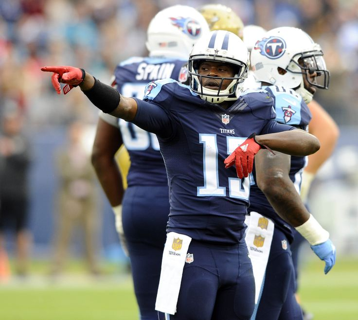 Dec 6, 2015; Nashville, TN, USA; Tennessee Titans receiver Kendall Wright (13) celebrates after a first down during the first half against the Jacksonville Jaguars at Nissan Stadium. (2563×2292)