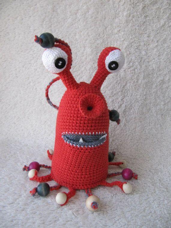 Crochet el monstruo juguete rojo Amigurumi tiene monstruo de peluche juguete alien ooak Montessori niño juguetes sensoriales regalo del bebé de juguete de niños Waldorf