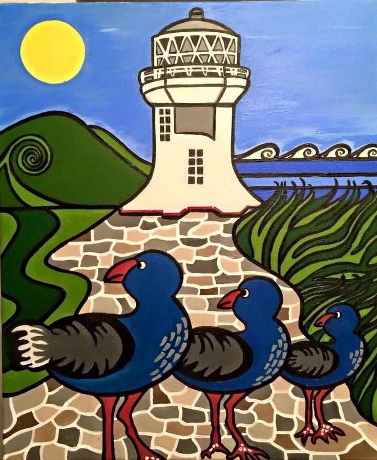 The lighthouse family acrylic abstract art