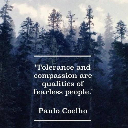 "Let's practice love and acceptance. Where did ""protect our own"" come from? We should sacrifice the earthly safety of our own to save others. WWJD? TOLERANCE AND COMPASSION ARE QUALITIES OF FEARLESS PEOPLE.. Paulo Coelho."