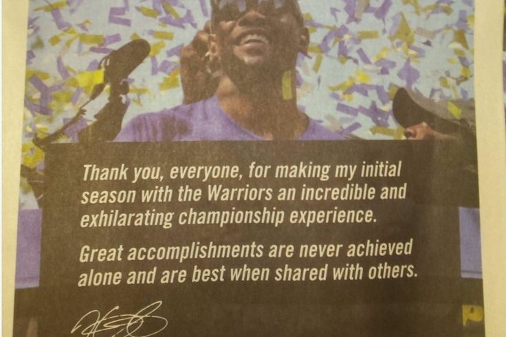 Kevin Durant Takes Out Full-Page Ad in SF Chronicle to Thank Warriors, Fans | Bleacher Report