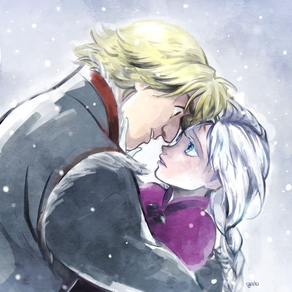 Frozen - Anna and Kristoff  I love their facial expressions. Anna realizes what's happening and is saying goodbye. Kristoff is angry at the situation and refusing to let her.