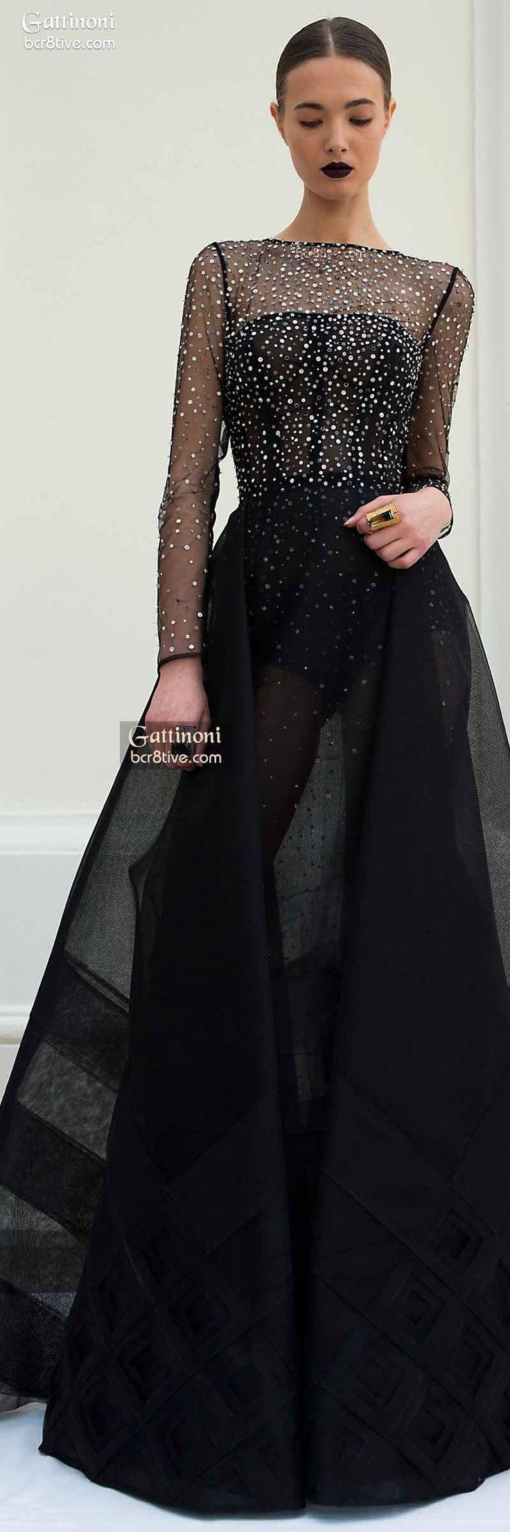 Black dress gown - Gattinoni Haute Couture Spring 2015 Black Sheer Embellished Dress Jaglady