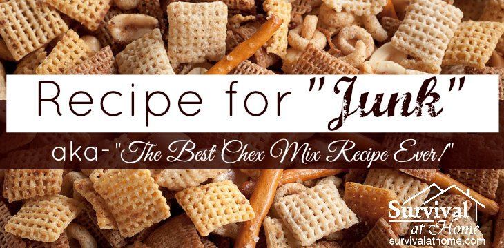 "My mom's recipe for ""Junk"" is the best Chex mix recipe ever! She was making it when I was a kid --- way before it was being bagged and sold commercially!"