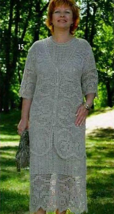 Филейное платье и костюм из льна