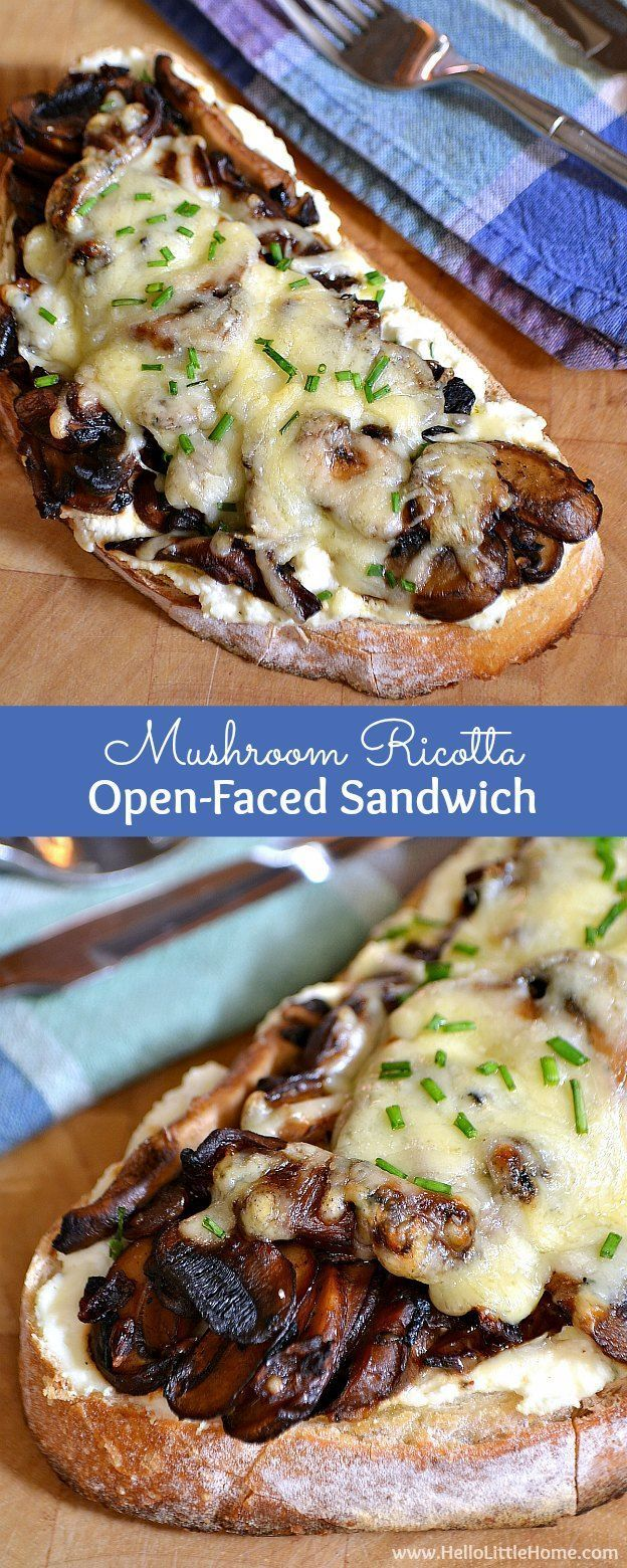 This Mushroom Ricotta Open-Faced Sandwich is a delicious vegetarian sandwich recipe that mushroom lovers will go nuts for! | Hello Little Home #Vegetariancooking