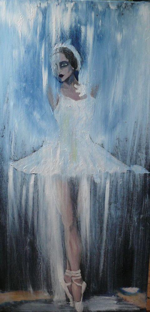 Schwanensee Ballett, Swan Ballerina 50cmx100cmTänzerin Öl auf Leinwand Sandraart