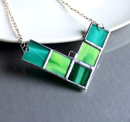 666 best stained glass jewelry images on pinterest glass jewelry modern stained glass necklace in greens starting at 1 on tophatter aloadofball Gallery