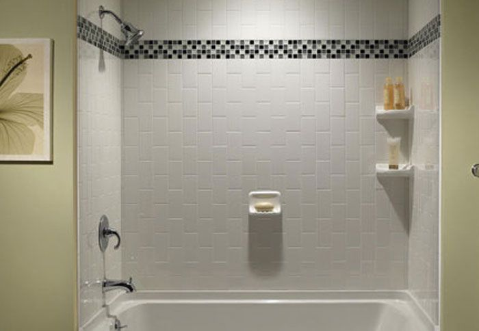 Mosaic Shower Ideas: Basic Tub Surround Is Transformed With Tile. Here, White