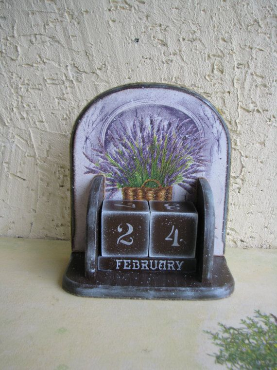 Wooden perpetual calendar, Provence, Ewiger Kalender, decoupage, desk block