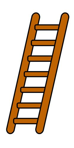 Very basic drawing lesson featuring a long cartoon ladder.