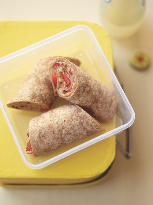 This peanut butter strawberry wrap could help control your hunger for up to 12 hours after eating! More tasty ways to enjoy peanut butter: http://blog.womenshealthmag.com/scoop/fight-cravings/