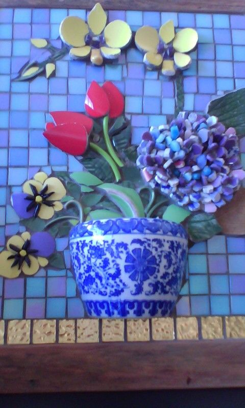 Meu quadro de flores, mosaico picassete.