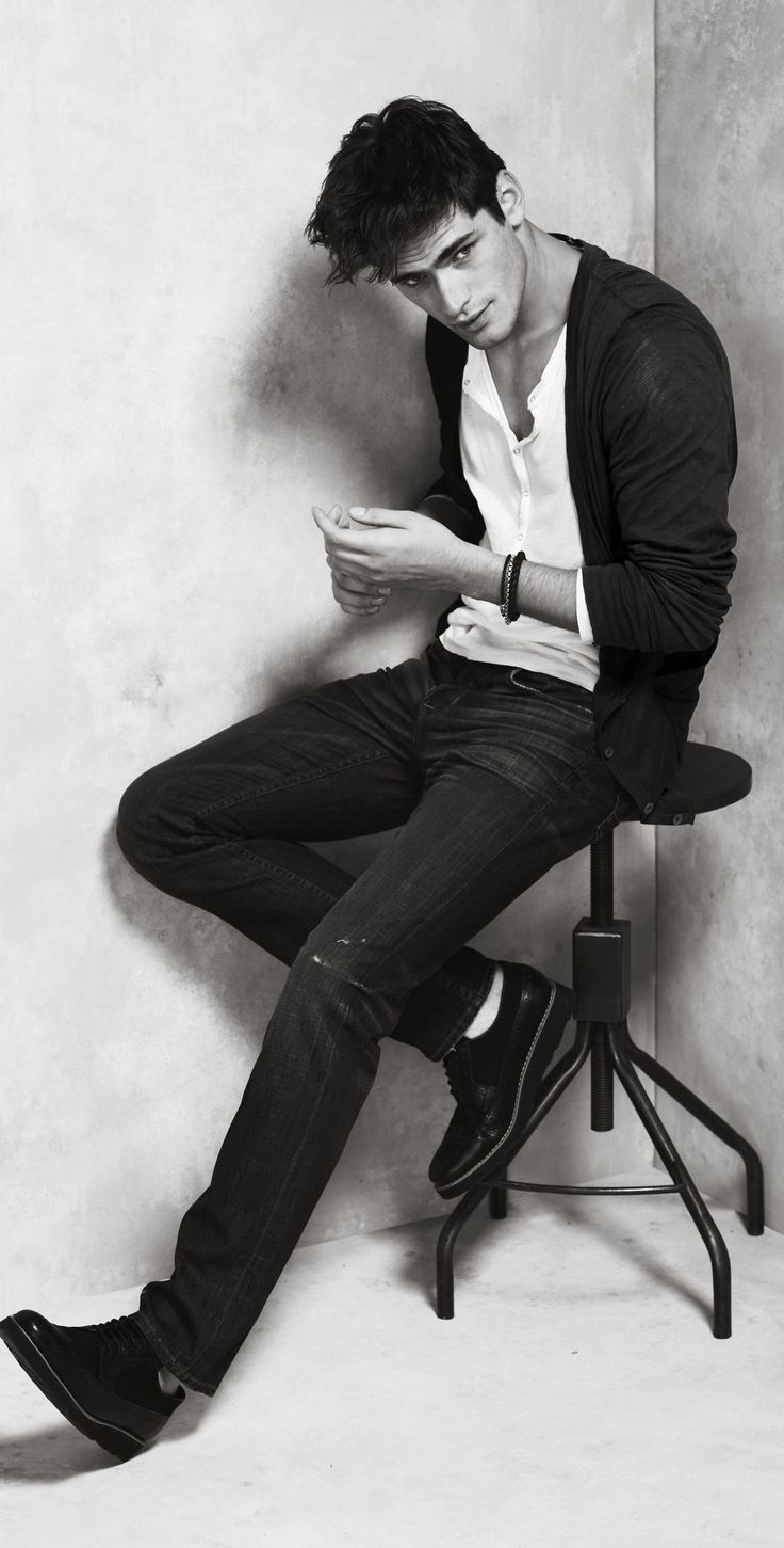 Denim, button-up and cardigan. B/W. | Raddest Men's Fashion Looks On The Internet: http://www.raddestlooks.org