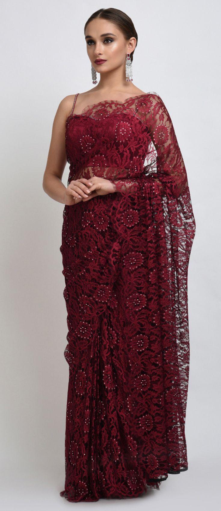 Maroon-Black French Chantilly Lace Swarovski Crystal Saree And Blouse