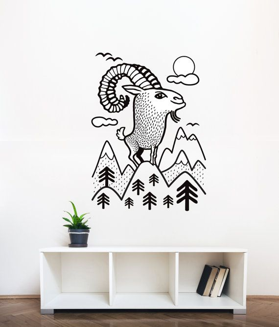 Wall decal / Mountain goat / wall sticker / animal vinyl by DURIDO