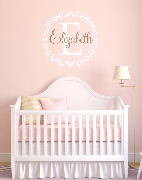 Shabby Chic Vinyl Wall Decal Personalized Initial and Name Wall Decal Damask Border Monogram Wall Decal Girl Baby Nursery Room 22Hx22W FS329 on Etsy, $39.00 love for both girls