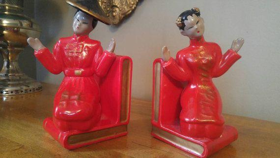 Vintage Napco Ceramic Asian Man and Woman by PublicDomainAntiques